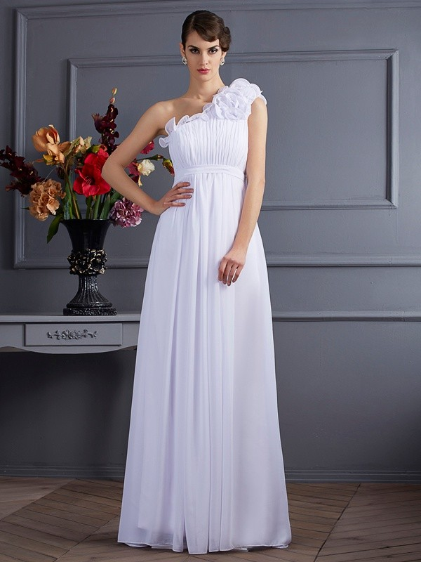 A-Linie/Princess-Linie One-Shoulder-Träger Ärmellos Falten Applikationen Lange Chiffon Kleid