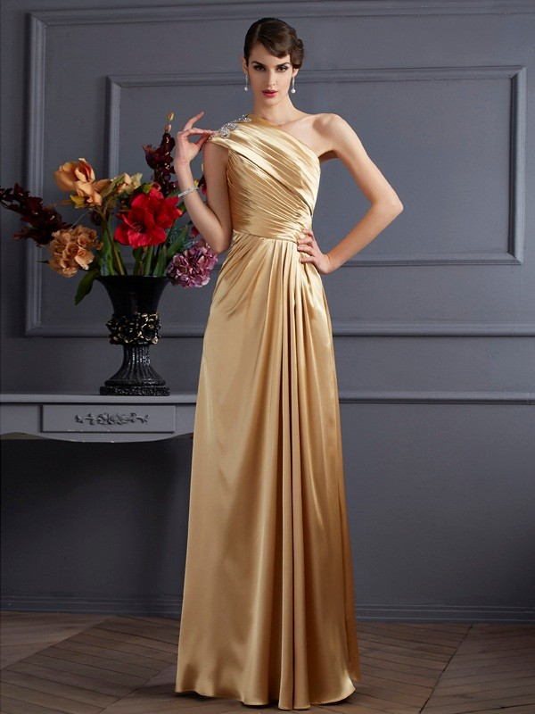 A-Linie/Princess-Linie One-Shoulder-Träger Ärmellos Perlen verziert Lange Stretch-Satin Kleid