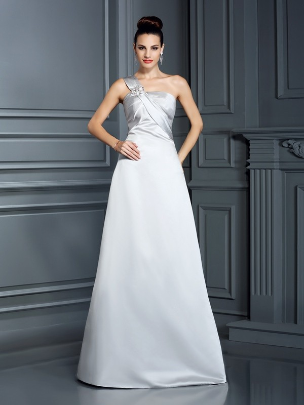 A-Linie/Princess-Linie One-Shoulder-Träger Ärmellos Lange Satin Kleid