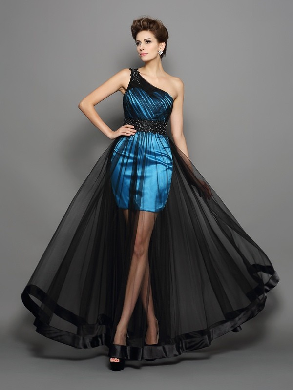 A-Linie/Princess-Linie One-Shoulder-Träger Rüschen Ärmellos Lange Stretch-Satin Kleid