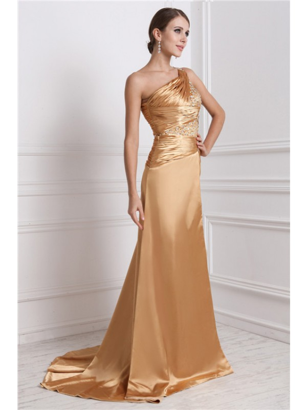 A-Linie/Princess-Linie One-Shoulder-Träger Ärmellos Lange Perlen verziert Stretch-Satin Kleid